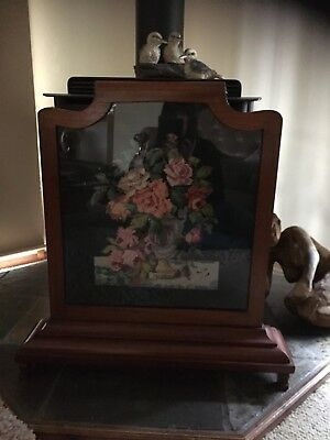 Victorian? Antique Fire Screen. Embroidered flowers. Glass. Beautiful Old Piece.