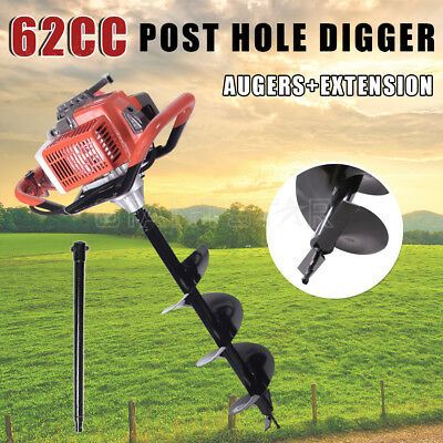 Post Hole Digger 62cc Posthole Earth Auger Fence Borer Petrol Fuel Drill Bit Kit