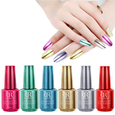 UK 12 Colors Girl Nail Polish Mirror Metal Effect Art Powder Varnish Metallic R6