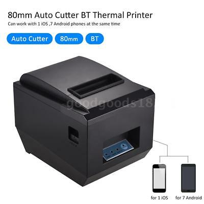 80mm BT Thermal Receipt Kitchen Printer Auto Cutter Compatible with ESC/POS L7D4