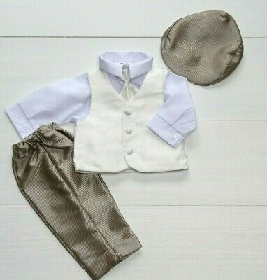 Baby Boy Christening Pageboy Formal Smart Outfit Waistcoat Hat White Beige 0-18M
