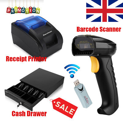 Excelvan Thermal ESC/POS Receipt Printer + USB Laser Barcode Scanner+Cash Drawer