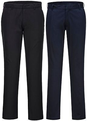 Portwest S232 black or navy stretch slim reflective inner chino work trouser