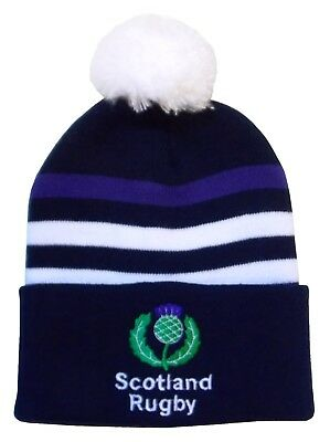 Scotland Rugby Bobble Hat - Three Stripe - Made in the UK