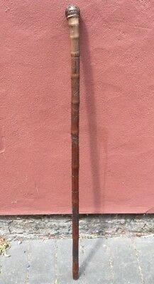 Antique Japanese Meiji Period Hand Carved Bamboo Walking Cane Stick C.19th Cent