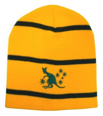 Australia Rugby Striped Beanie Hat - Made in the UK