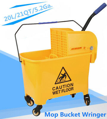 Rolling Mini Side Press Mop Bucket with Wringer 21qt / 5.2 Gallons/20L Yellow BP