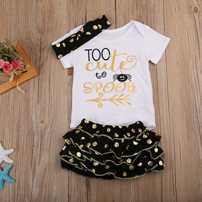 Hot 3PCS Newborn Toddler Baby Girls Romper + Dot Skirts Headband Outfits Sets