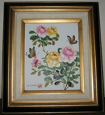 Vintage Listed C K. Chan Original oil/canvas Painting Flowers and Butterflies