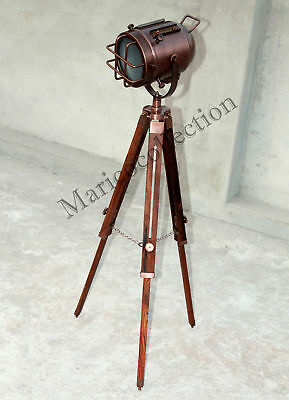 Nautical Chrome Finish Vintage Marine Wooden Tripod Stand With Spot Search Light