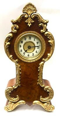 Vintage Ting Tang Striking Boulle Clock By Hermle. C.1980 Inlaid Walnut Maquetry