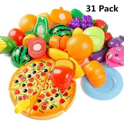 31pcs Kids Toy Pretend Role Play Kitchen Fruit Vegetable Cake Food Cutting Sets