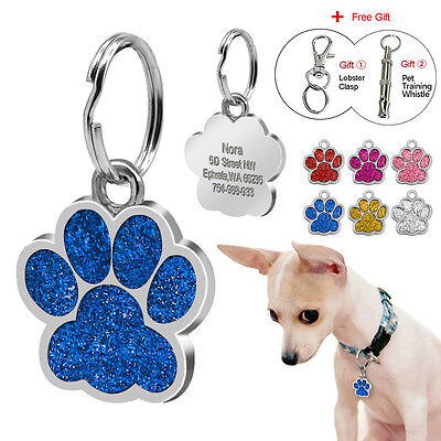 Engraved Dog Tags Pet Puppy Cat ID Tag Cute PAW PRINT Kitten Collar Tags