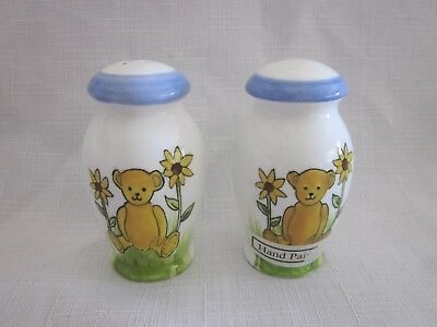 Salt & Pepper Shakers Hand Painted Teddy Bear Sunflower Ceramic white blue gold