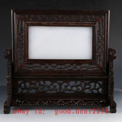 Chinese Wood Inlay Afghanistan Jade Carved Dragon Screen