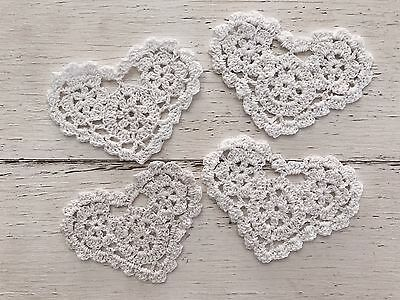 4 X New White 11 Cm Heart Crochet Lace Doilies/ Embellishments