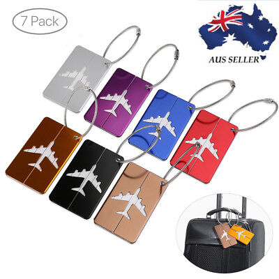 7 X Aluminum Metal Travel Luggage Tag Personal Infor Label Suitcase Key Ring