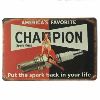 Champion Spark Plugs Tin Sign Bar Shed Garage Man Cave Wall Plaque 30cm x 20cm