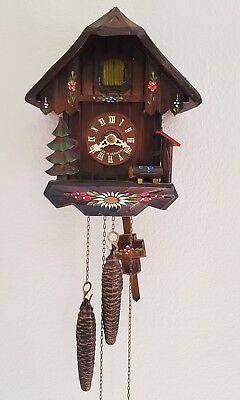 Vintage Black Forest Hubert Herr Chalet Style Cuckoo Clock 1 Day Fully Working