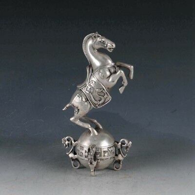 Chinese Silvering Copper Horse Statue Made During The Da Qing Qianlong @BT0088`a