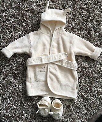 Dressing Gown Set Cream 0-6 Months Unisex Natures Purest