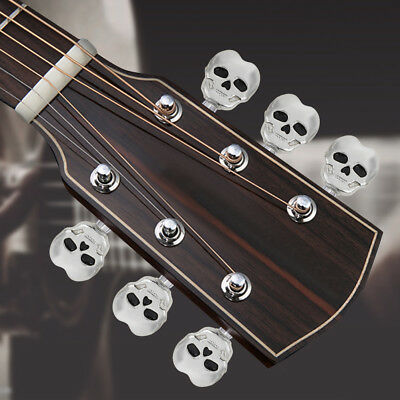 6X Guitar String Tuning Pegs Skulls of Death Machine Heads Keys w/ Screws SILVER