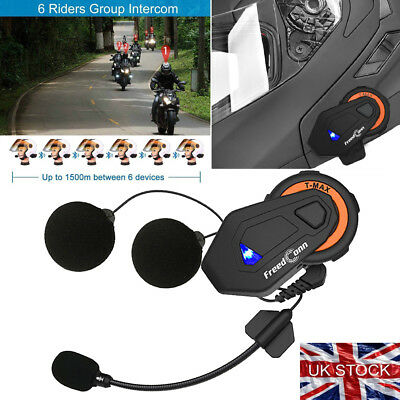 1500M BT Motors Bike 6 Riders Talking Group Riding Intercom System with FM Radio