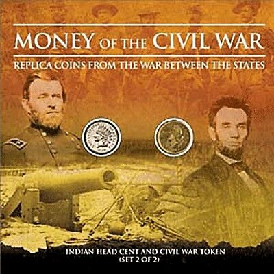 Money of the Civil War Indian Head Cent and Civil War Token Colorful Card