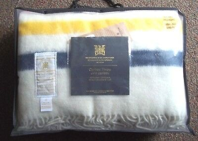 100% wool HUDSON BAY england Red Yellow Blue Green STRIPE blanket TWIN new gift