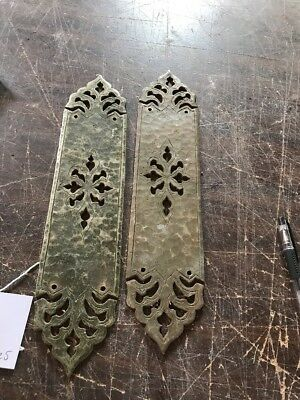 P 16 match Pair antique Gothic design hammered brass push plates for passage …