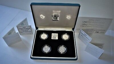 1994-1997 Silver Proof Piedfort One Pound Collection with COA's Sterling Silver.