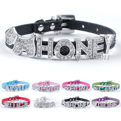Bling Personalized Leather Puppy Cat Dog Collars with Rhinestone Name Charm