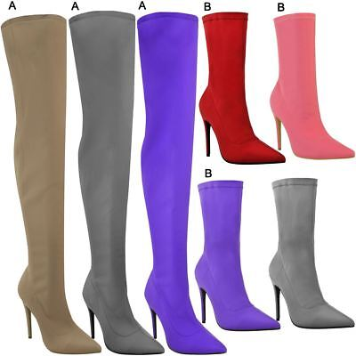 Womens Ladies Stiletto High Heels Boots Pointed Thigh High Ankle Shoes Size New