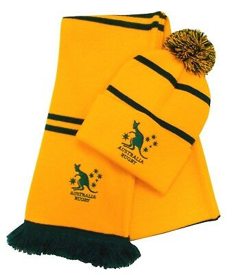 Australia Rugby Bobble Hat and Scarf - Made in the UK