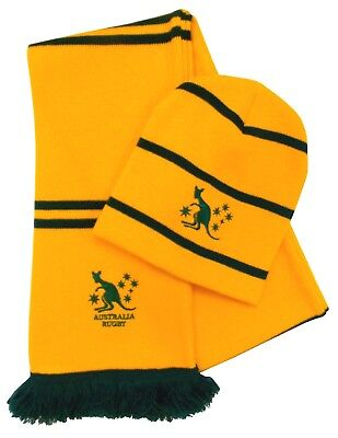 Australia Rugby Striped Beanie Hat and Scarf- Made in the UK