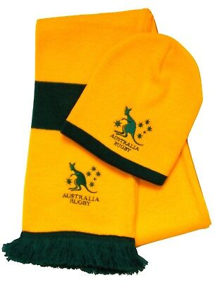 Australia Rugby Beanie Hat and Scarf - Made in the UK