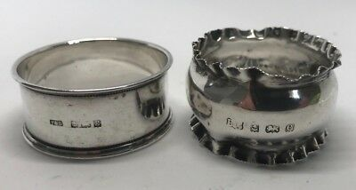 Two Antique Hallmarked Solid Silver Napkin Rings