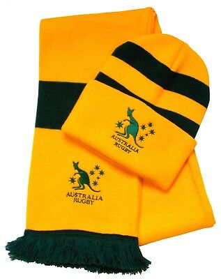 Australia Rugby Striped Bronx Hat and Scarf - Made in the UK