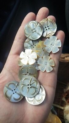 Lot Of Vintage Mop Mother Of Pearl Carved Buttons