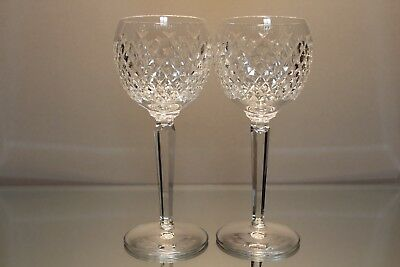 Set of (2) Waterford Crystal Alana Wine Hock Goblets Stems Mint Signed