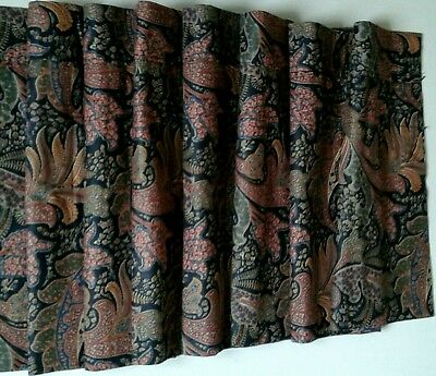 "CROSCILL Blouson Balloon VALANCES (2) Each 108"" Wide x 17.5""  Paisley Floral"