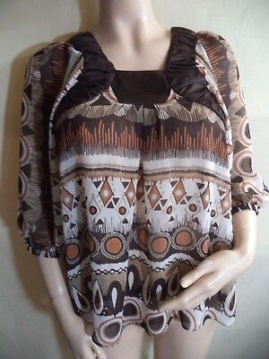 BCBGeneration Loose Fit Blouse Multicolor Geometric Sheer Poly 3/4 Sleeves Small