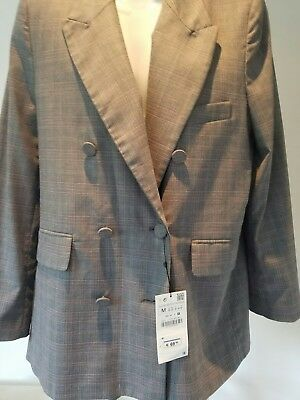 ZARA GREY CHECKED OVERSIZED BOLD SHOULDER BLAZER JACKET size M BNWT