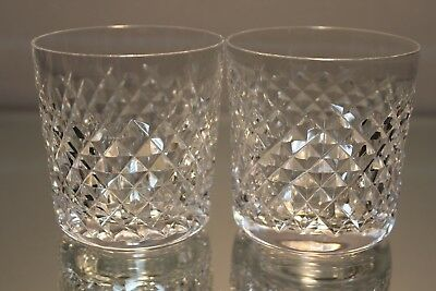 """Waterford Crystal SET OF 2 Alana 8 oz Old Fashioned Tumblers 3 1/4"""" Signed MINT"""