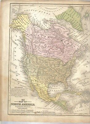Old Map Of North America 1852 91 2 By 111 2 Inches Good Cond