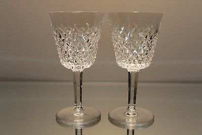 "*EXCELLENT* Waterford Crystal ALANA Set of 2 Claret Wine Glasses 5 7/8"" Signed"