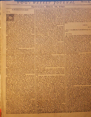 Scarce FOGS WEEKLY JOURNAL APRIL 11, 1730 - Rare and controversial at the time!