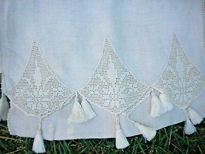"""Long Vintage Linen Runner With Lace And Tassels 86"""" by 16"""""""