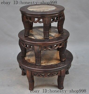 """7""""Old China Rosewood Inlay marble Hand-Carved Bonsai Potted Pedestal Bases Set"""