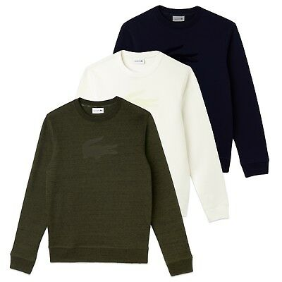 7052c1486cf4 Lacoste Sweatshirt - Lacoste SH9258 Felt Crocodile Crew Neck Cotton Fleece  Sweat